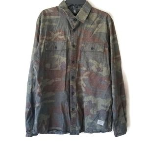 Volcom camo button down collared shirt